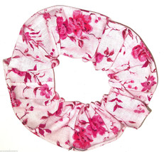 Floral Hair Scrunchie Hot Pink on Pink Fabric Scrunchies by Sherry  - $6.99