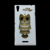 Cute Retro Bronze Metal Owl Branch Hard Back Skin Case Cover for Sony Xperia T3 - $7.99