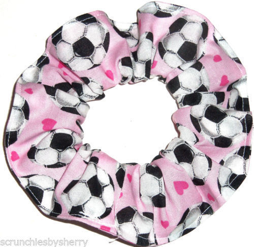 Primary image for Pink Soccer Balls Fabric Hair Scrunchie Scrunchies by Sherry Ponytail Holder Tie