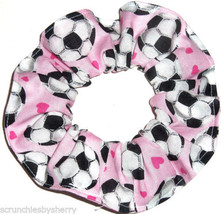 Pink Soccer Balls Fabric Hair Scrunchie Scrunchies by Sherry Ponytail Ho... - $6.99