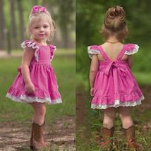 NWT Boutique Girls Pink Sleeveless Lace Hem Ruffle Dress 2T 3T 4T 5T - $10.99