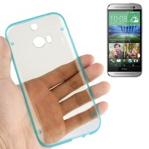 For HTC One M8 Blue Transparent Plastic + Fluorescent Effect TPU Frame Case - $5.49