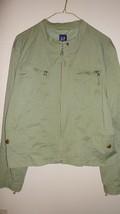 Gap Jacket Lined Olive Green Zipper Front 2 Zipper & 2 Snap Pockets Womens Sz XL - $10.00