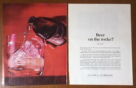 "1961 Budweiser ""Beer on the Rocks"" Vintage Print Ad 2 Page - $7.67"