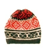 Beanie Hat, red & black, made of Alpacawool, One Size. Handmade in Peru - $30.60