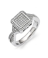 STERLING SILVER VINTAGE STYLE SQUARE-TOP HALO CLUSTER PAVE-SET CZ RING -... - $41.64