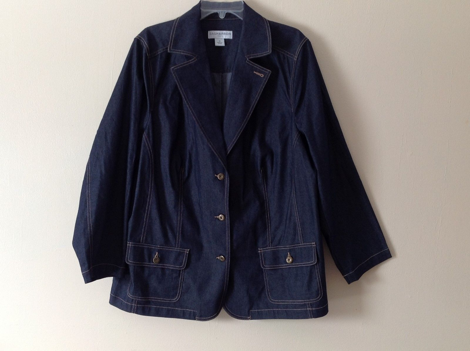 Ladies SAG HARBOR Dark Denim Blazer Cardigan Lt Jacket Size 1X