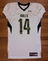 Under Armour South Florida USF Bulls Havoc Jersey #14 Men's Large White ... - $19.79
