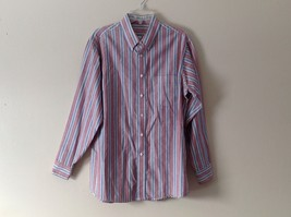 Mens Wrinkle Free Dress Shirt w Multicolor Striped Pattern