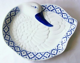"CERAMIC Duck Shaped PLATTER Thai Asian Blue & White PLATE 12.8"" x 10"" MI... - $28.41"