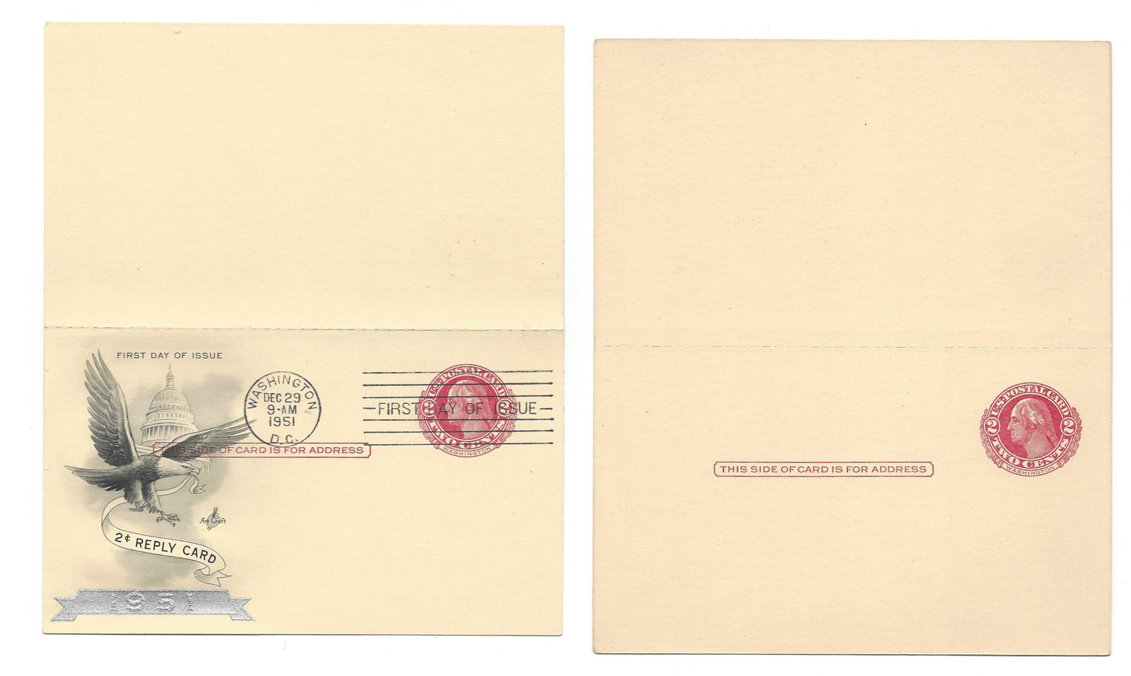 Primary image for UY13 2 Paid Reply Postal Cards 2c Washington FDC Cachet  Mint Unfolded Unsevered