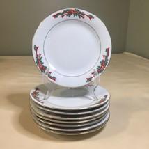 "Set of 8 Poinsettia & Ribbons Fine China 7 1/2"" Salad / Dessert Plates - $24.74"