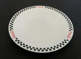 Coca Cola Brand Dinner Plate by Gibson China Black Checker Board Red Rim  - $12.86