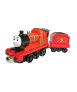 JAMES & Tender ~ Thomas Take Play Along Diecast Train Engine Pull N Zoom Wind Up - $4.99