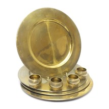 """Set of 4 Brass 11.75"""" Charger Dinner Plates Dish & 4 Napkins Brass Ring ... - $44.34"""