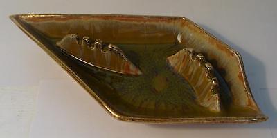 Angular Cal Style 2506 USA Pottery Ashtray Mid Century Earthtones Gold Retro