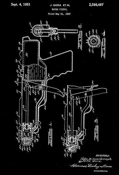 Primary image for 1951 - Water Pistol - Gora - Wyandotte Toys All Metal Products Patent Art Poster