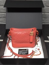 NWT AUTH Chanel 2019 Red Quilted Calfskin Small Gabrielle Hobo Bag GHW