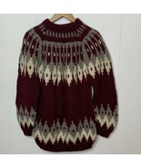 Vintage Womens Fair Isle Wool Thick Knit Sweater Sz L Hand Made In Greece - $59.37