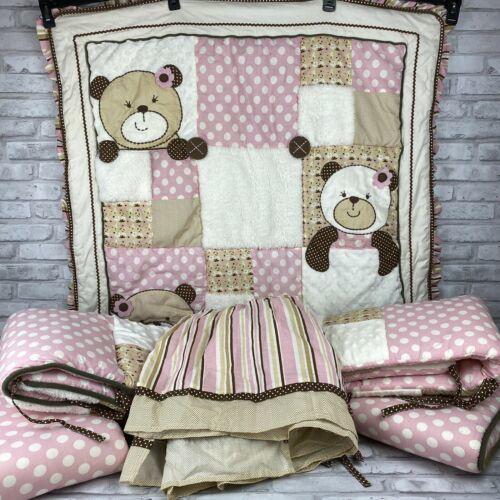 Cocalo Baby Crib Set 6 Pieces Pink Brown Tan White Bears Polka Dots Baby Girl - $67.72