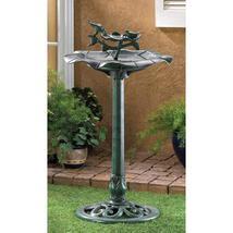 Outdoor plastic verdigris green garden yard patio deck lawn birdbath, bird baths image 2