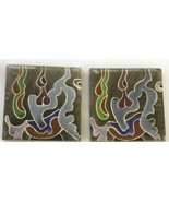 Pair of Vintage Warner Prins Ceramic Pottery Tiles, Signed - $23.65