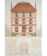ARCHITECTURE Color Print - VICTORIAN Brick Residence Rue d'Erlanger Paris - $39.60