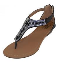 Crystal Rhinestone Jeweled Thong Gladiator Low Wedge Black Sandals Back ... - $23.10