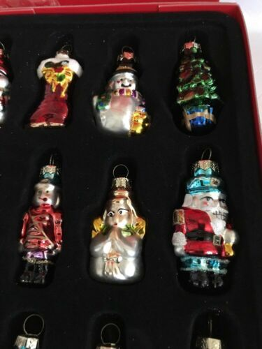 """Avon Set of 12 Holiday Glass Christmas Tree Ornaments New in Box 2.5"""" Tall"""