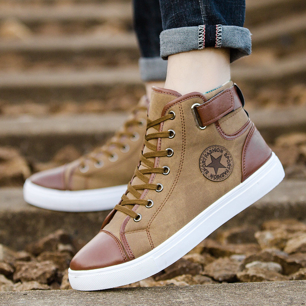 Casual Canvas Fashion Sneakers For Men Lace-Up High Style Vulcanized Flat Shoes