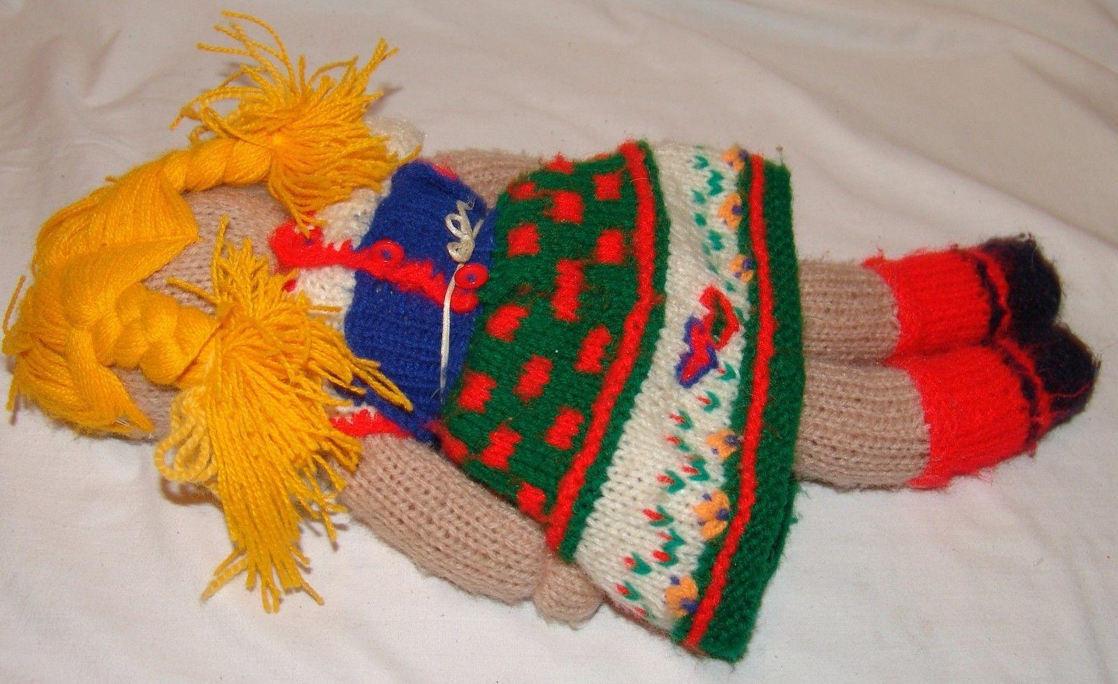 "Vtg Rag Doll Handmade Yarn Crochet Crocheted Knit 17"" Toy Baby"