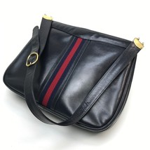 AUTHENTIC GUCCI Old Gucci Sherry line Shoulder Bag Navy Leather - $400.00
