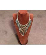 Vintage Silver and Turquoise Chain Bib Necklace - $12.00
