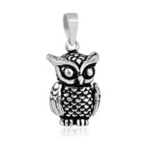 925 Sterling Silver Large 3D Movable Owl Charm Pendant - $86.80
