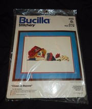 "NEW Vintage 1980's Bucilla Crewel Stitchery Kit ""Clown In Repose"" #49256  - $11.99"