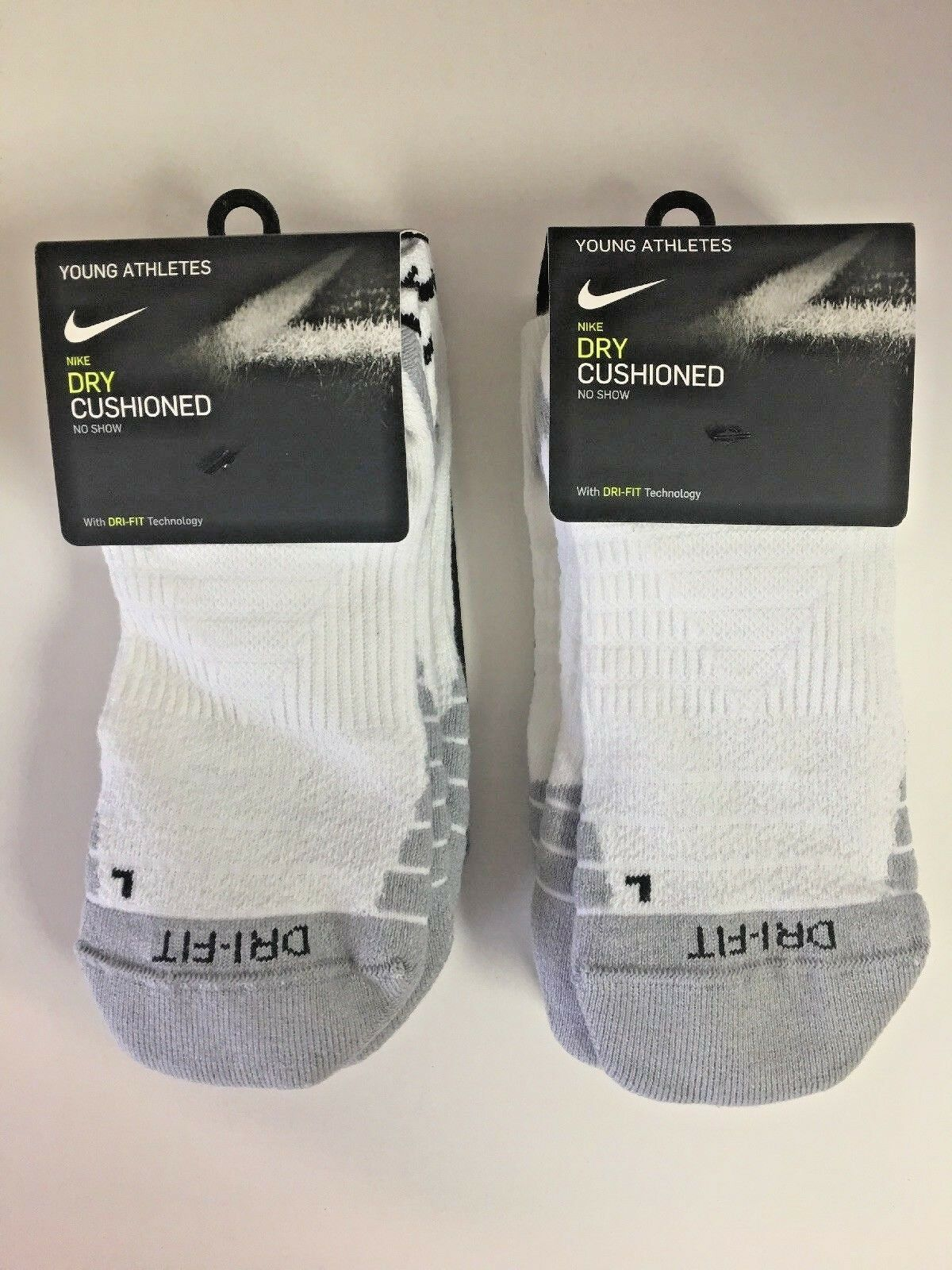 NIKE DRI FIT CUSHIONED SOCKS Young Athlete 5y-7y Medium No Show, 2 pack 6 pairs