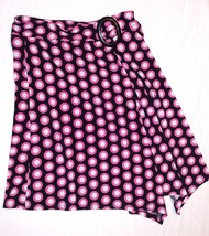 CATO GIRLS SKIRT Flowing Asymmetrical Dressy Pink Black Circles M 8/10 S... - $8.97