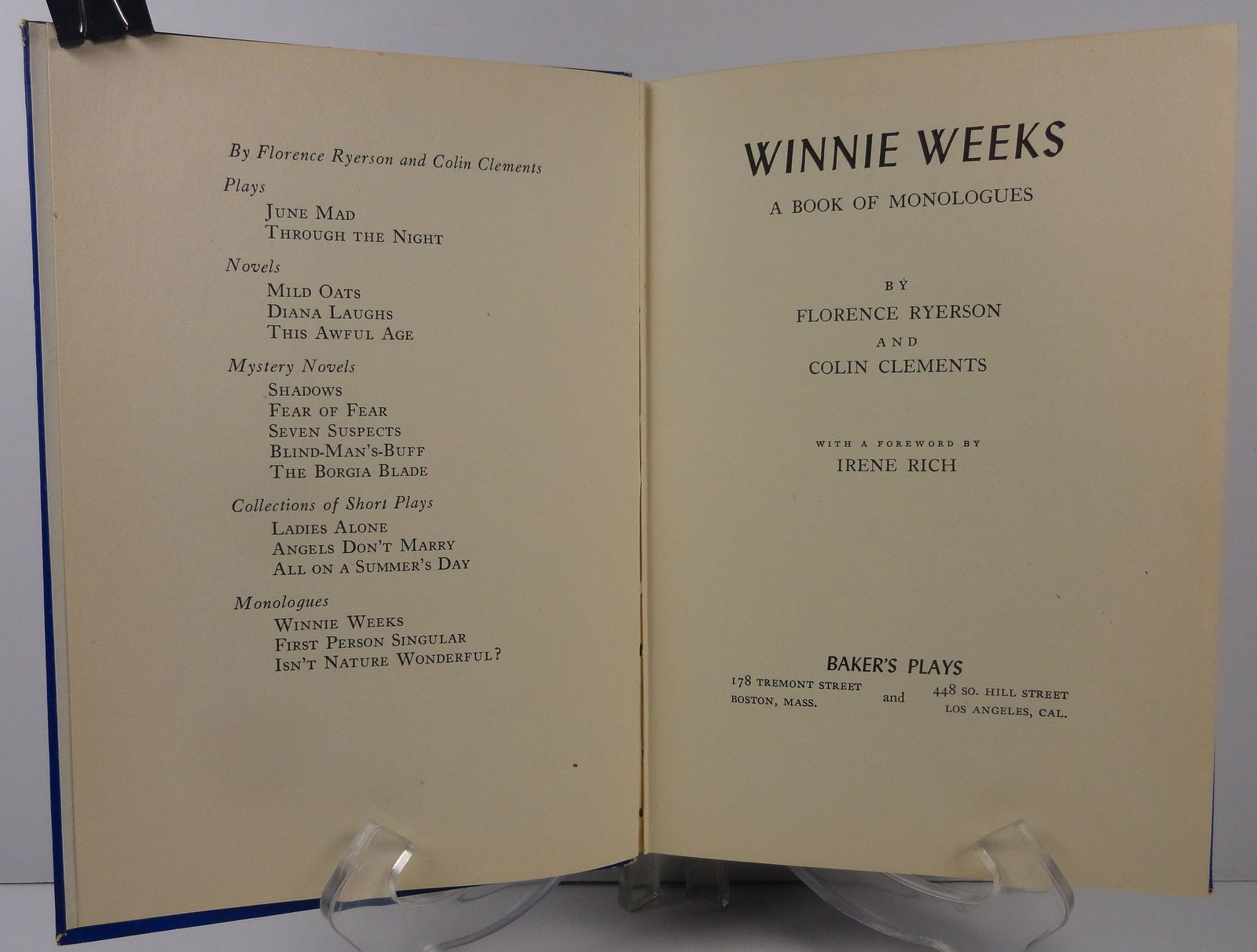 Winnie Weeks by Florence Ryerson and Colin Clements 1940