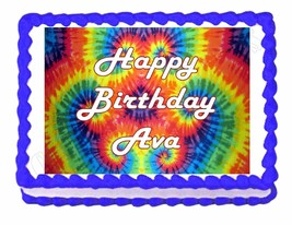 Tie Dye Hippie Party Edible Cake topper decoration - personalized free! - $7.80