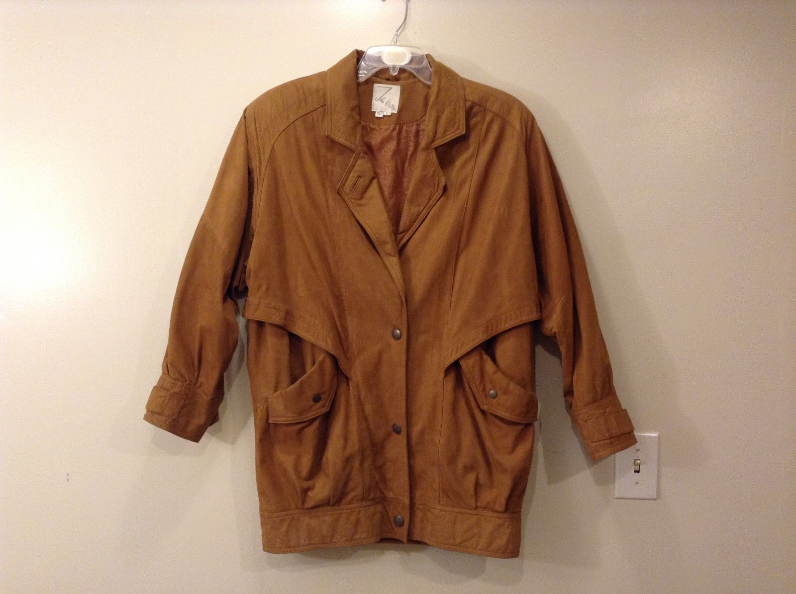 John Weitz Genuine Brown Old Fashioned Leather Jacket Sz L