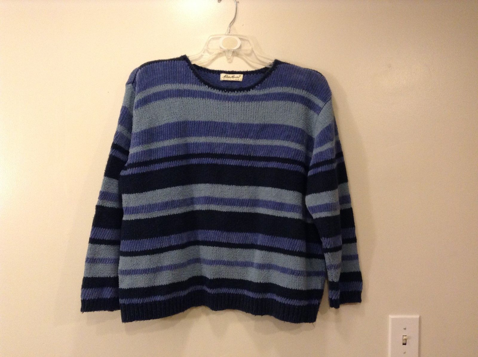 Ladies Eddie Bauer Blue Striped Sweater Sz XL XXL