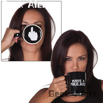 Ceramic Have A Nice Day/Middle Finger Coffee Cup - $28.99