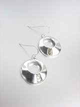 ELEGANT Silver Mother of Pearl Shell Round Petite Dangle Earrings - $9.99