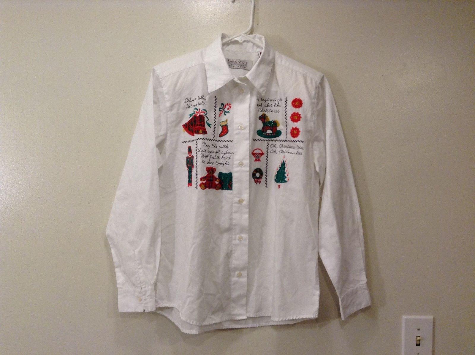 Ladies Karen Scott White Christmas Embroidered Button Down Shirt Sz S