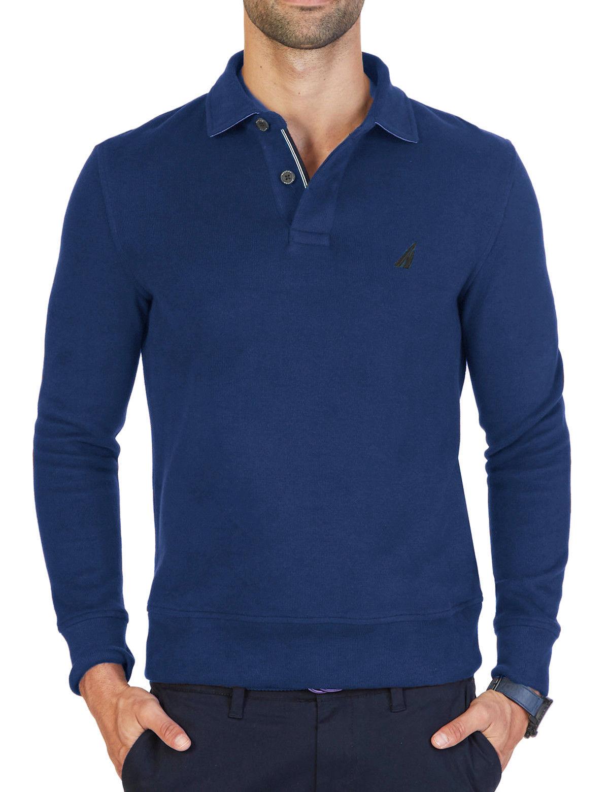 NEW MENS NAUTICA WINDWARD LONG SLEEVE BLUE CLASSIC FIT FRENCH RIB POLO XXL $79 - $28.99