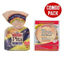 Combo Value Pack: Joseph's Flax Oat Bran & Whole Wheat Reduced Carb Pita... - $16.64