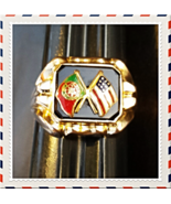 "'19.2K' GOLD c.1920-30's ""USA+PORTUGAL"" FLAGS RING~VTG COLLECTORS~ONYX+E... - $850.00"