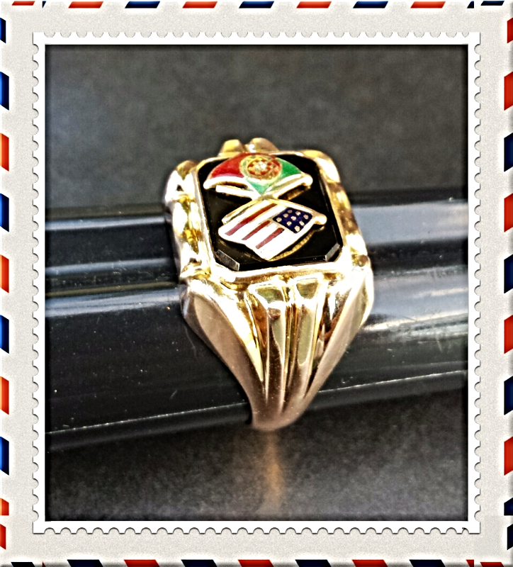 "'19.2K' GOLD c.1920-30's ""USA+PORTUGAL"" FLAGS RING~VTG COLLECTORS~ONYX+ENAMELED"