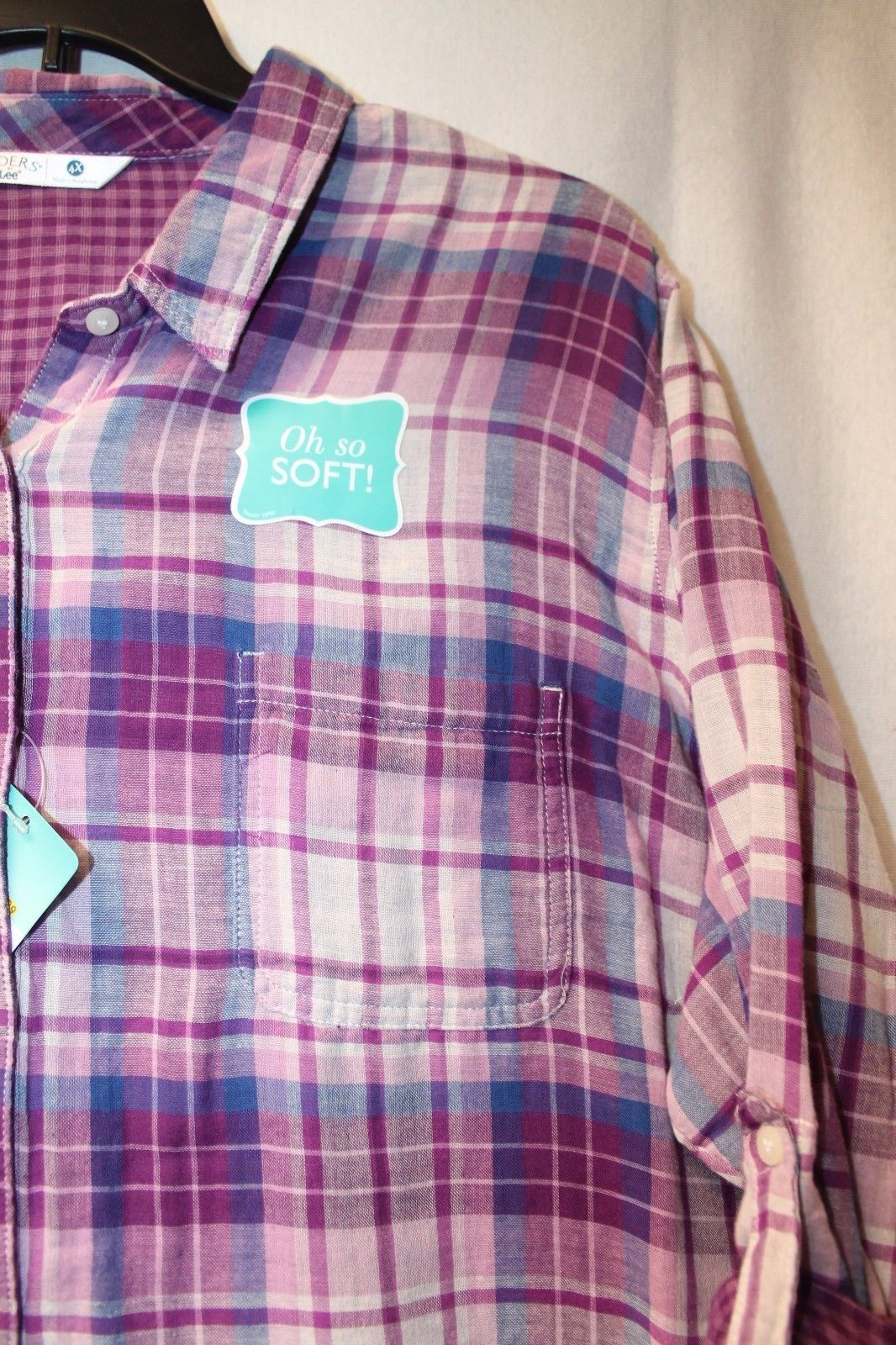 14fe3f68b93 ... NEW LEE RIDERS WOMENS PLUS SIZE 4X PURPLE BLAKELY PLAID BUTTON UP DOWN  SHIRT TOP ...