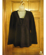 Style & Co. V-Neck Crocheted Black Sweater Top - Size XL - $16.67
